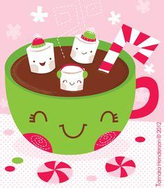 Drawn chocolate kawaii Pinterest Hot Milk Illustration Cookie
