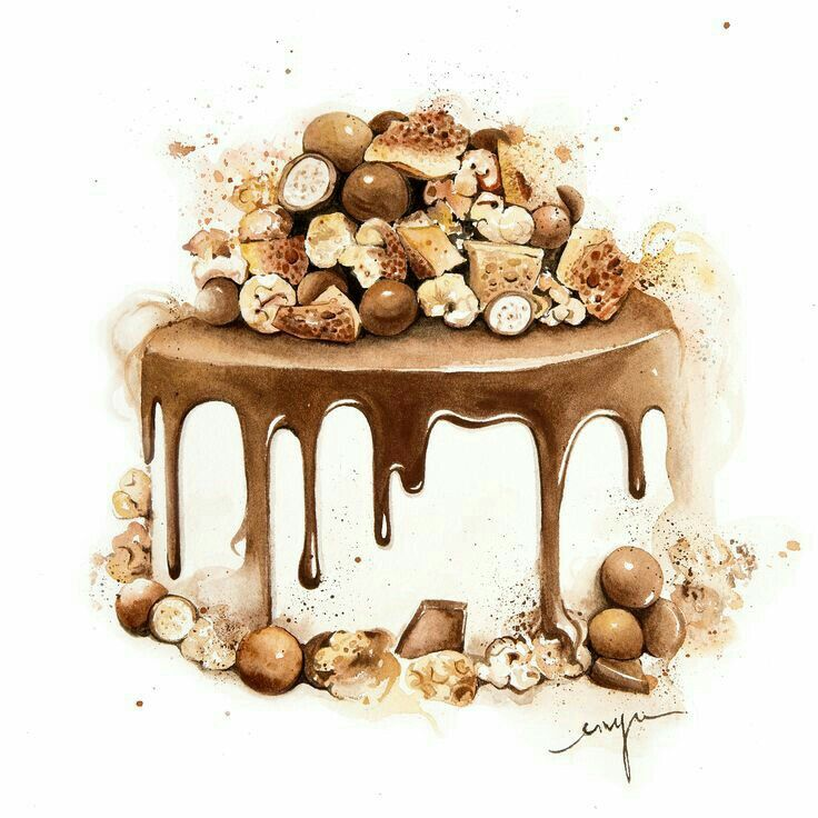 Drawn chocolate pastry Yummy Chocolate cake Pinterest images