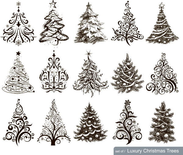 Drawn decoration paisley Design Hand tree mix christmas