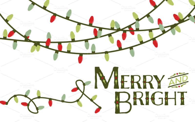 Drawn christmas lights Mockups Vector Christmas Shack 70+