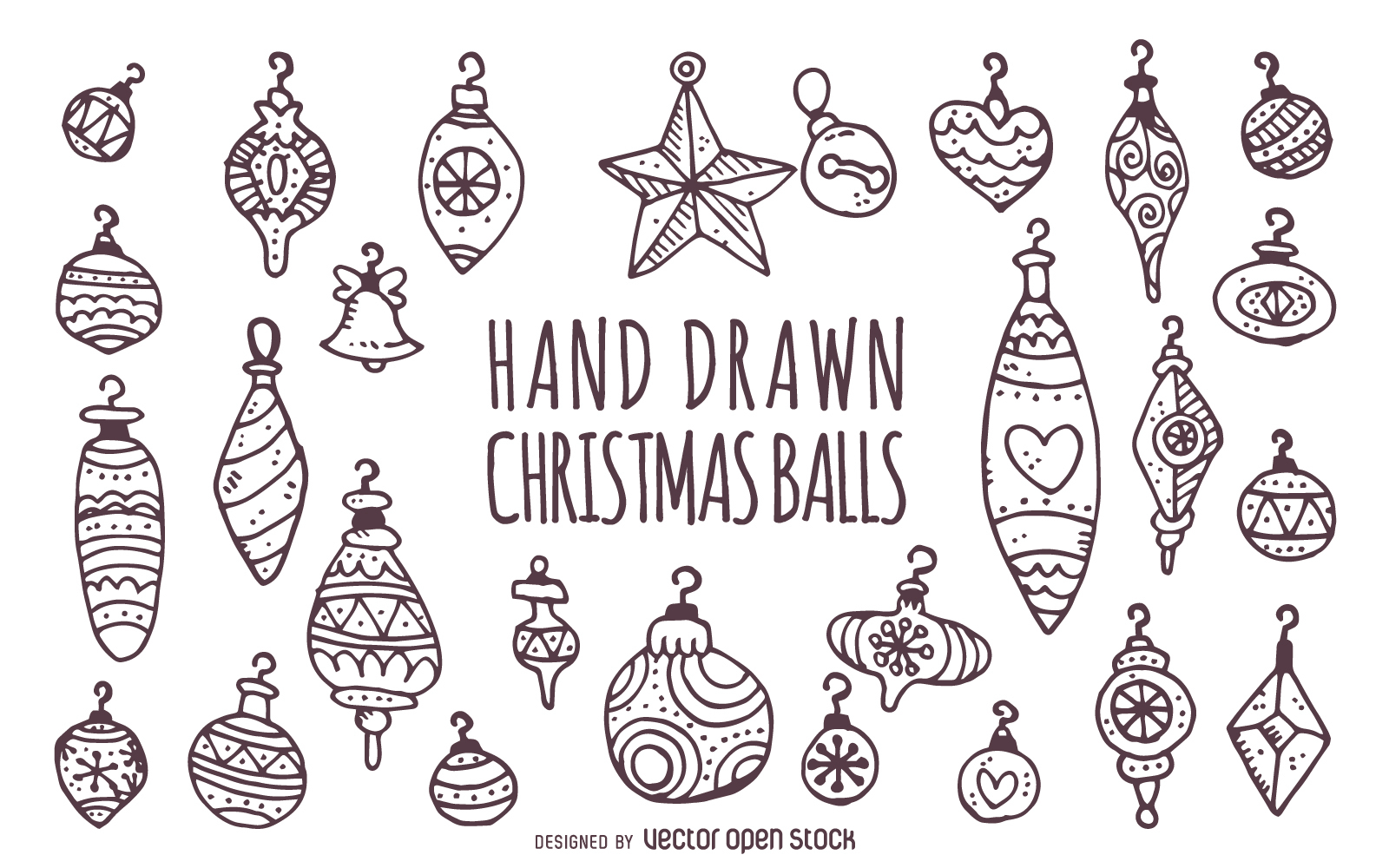 Drawn ornamental black and white Ornaments Large set 1600x1000px Hand