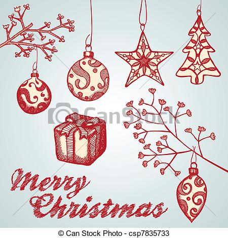 Drawn ornamental vector Christmas  of ornament Set