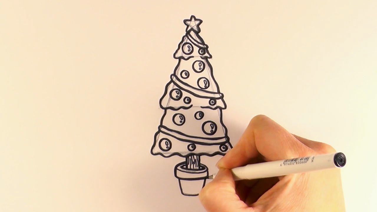 Drawn christmas ornaments cartoon Decorations How YouTube Tree Draw