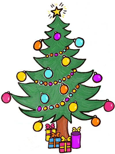 Drawn christmas ornaments cartoon Tree Cartoon with a How