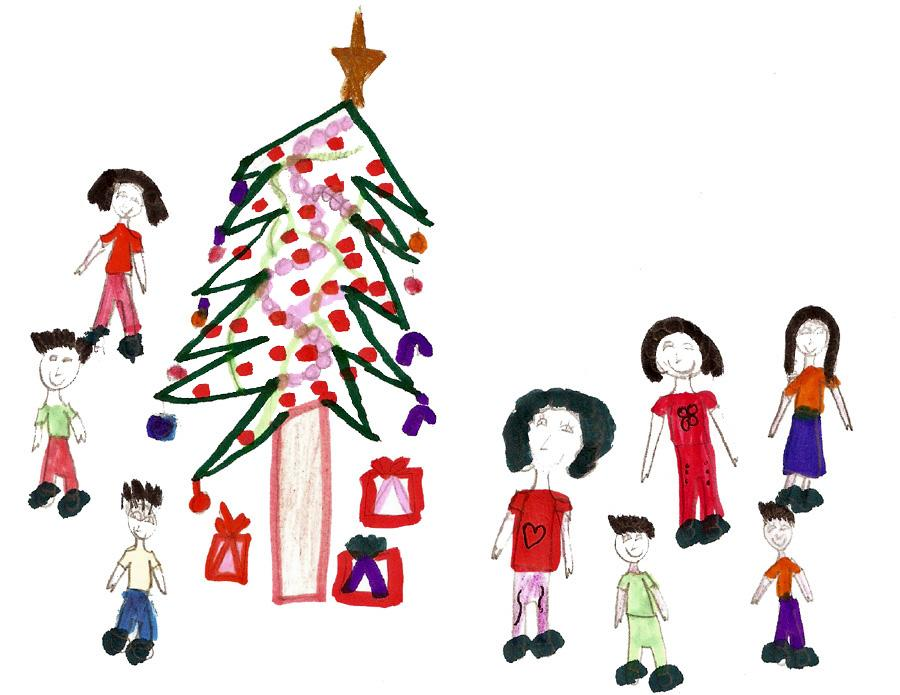 Drawn christmas ornaments childrens Family a girl a a
