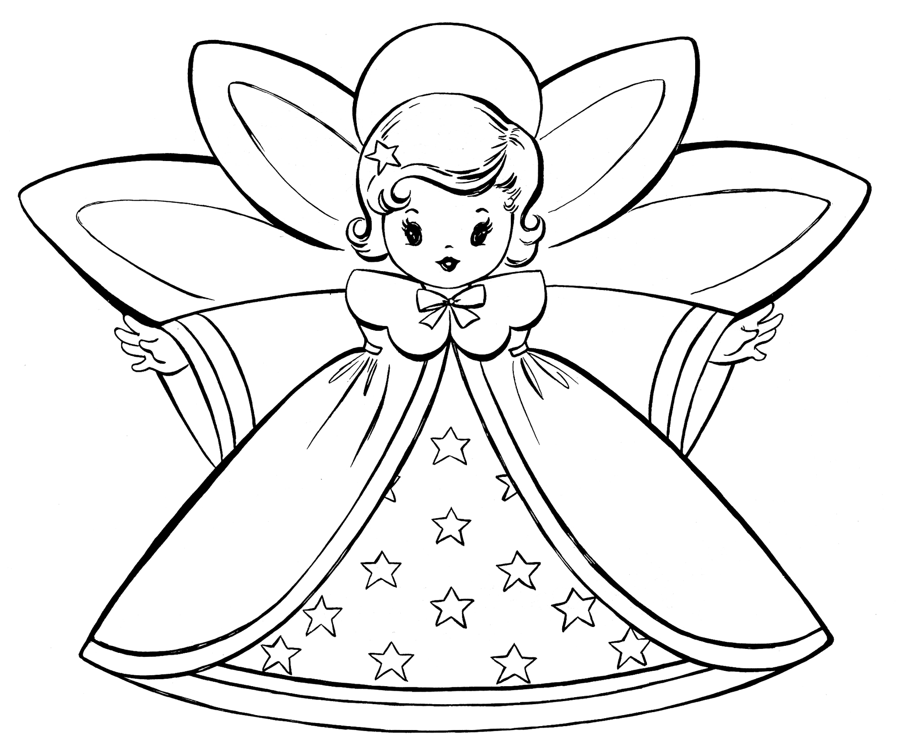 Angel clipart coloring page #4