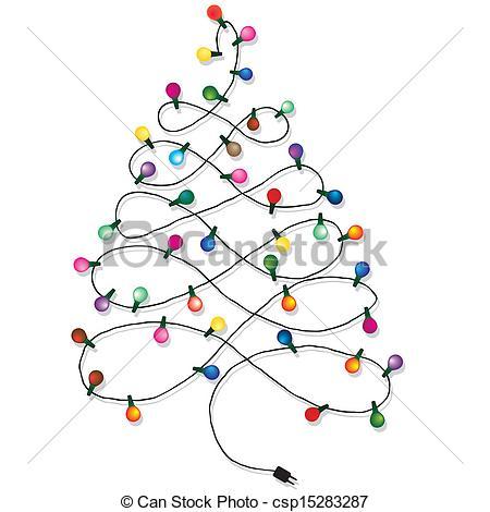 Drawn christmas ornaments christmas light Lights tree garland tree of
