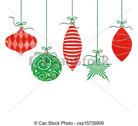 Decoration clipart holiday ornament Hanging Five Ornaments Christmas Stock