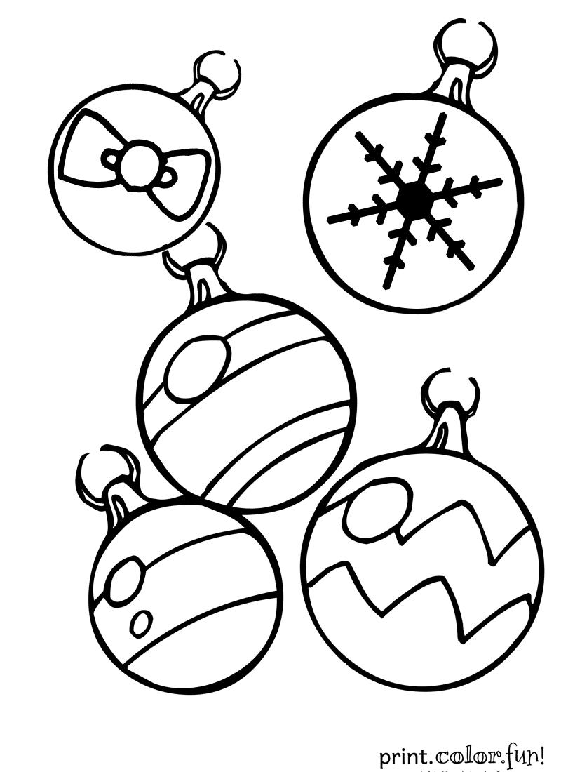 Drawn christmas ornaments color cut out Print Sheets Page Ornament Cut