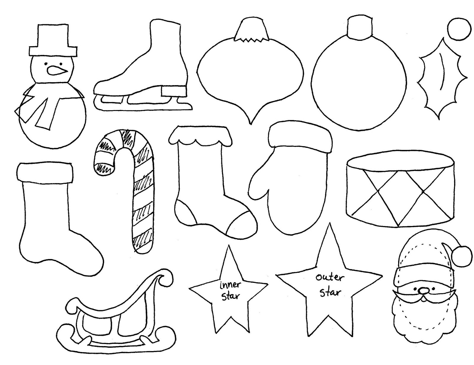 Drawn christmas ornaments color cut out Sew homemade advent advent ornament