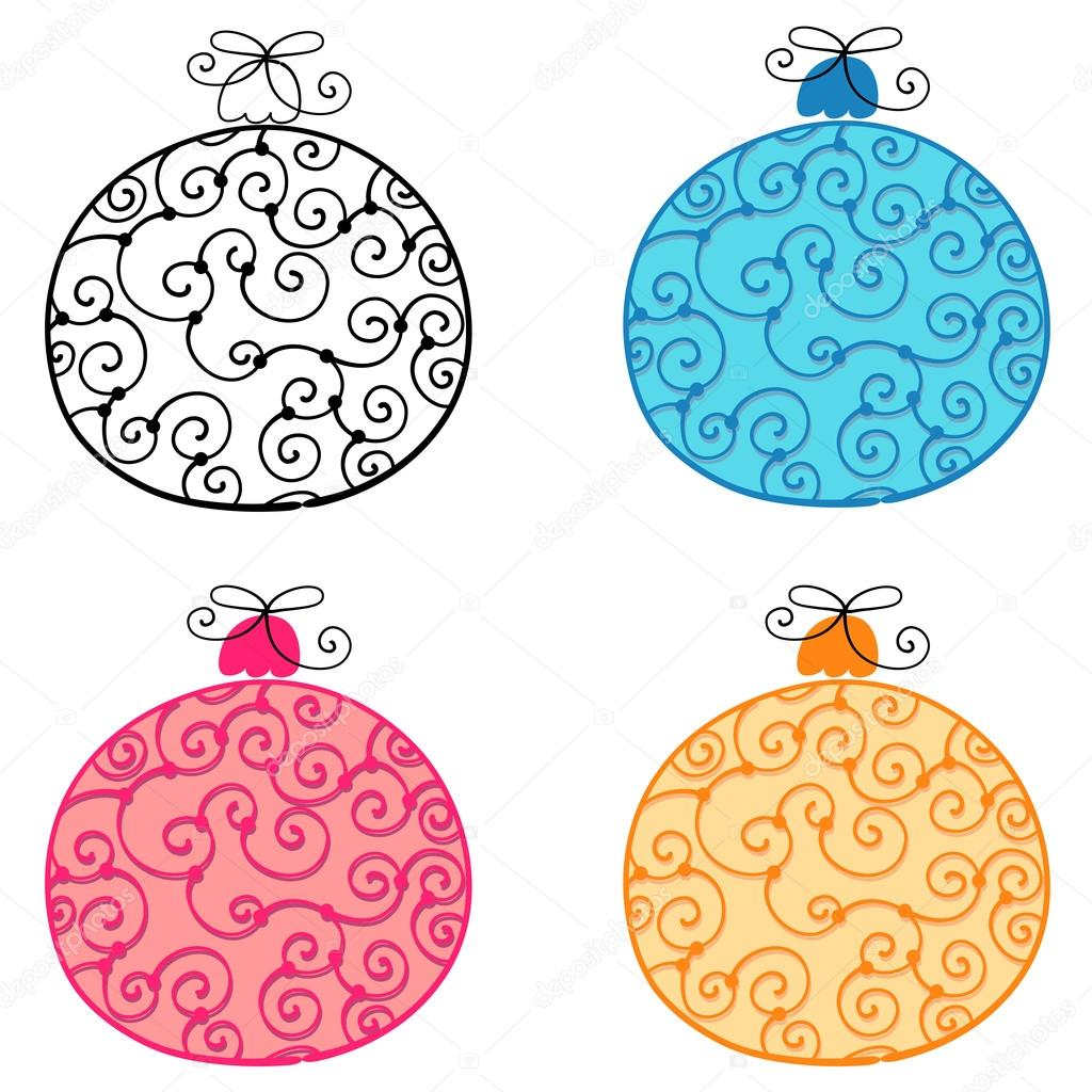 Drawn christmas ornaments cute Ornaments Vector hand Set style