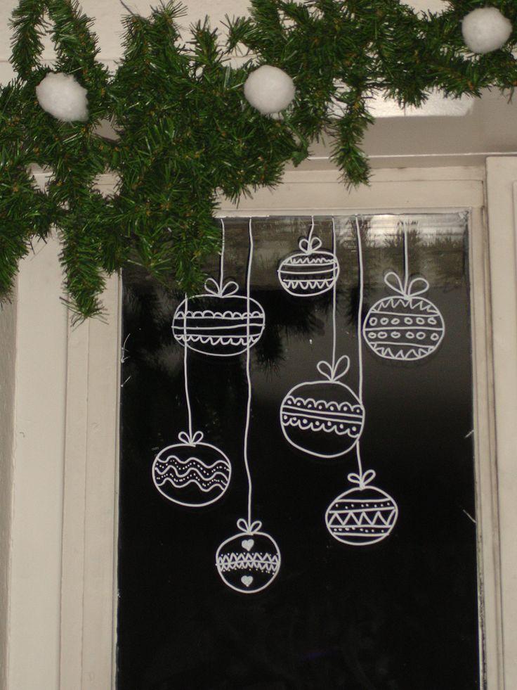 Drawn christmas ornaments fun christmas Pinterest Décor Window drawing Christmas