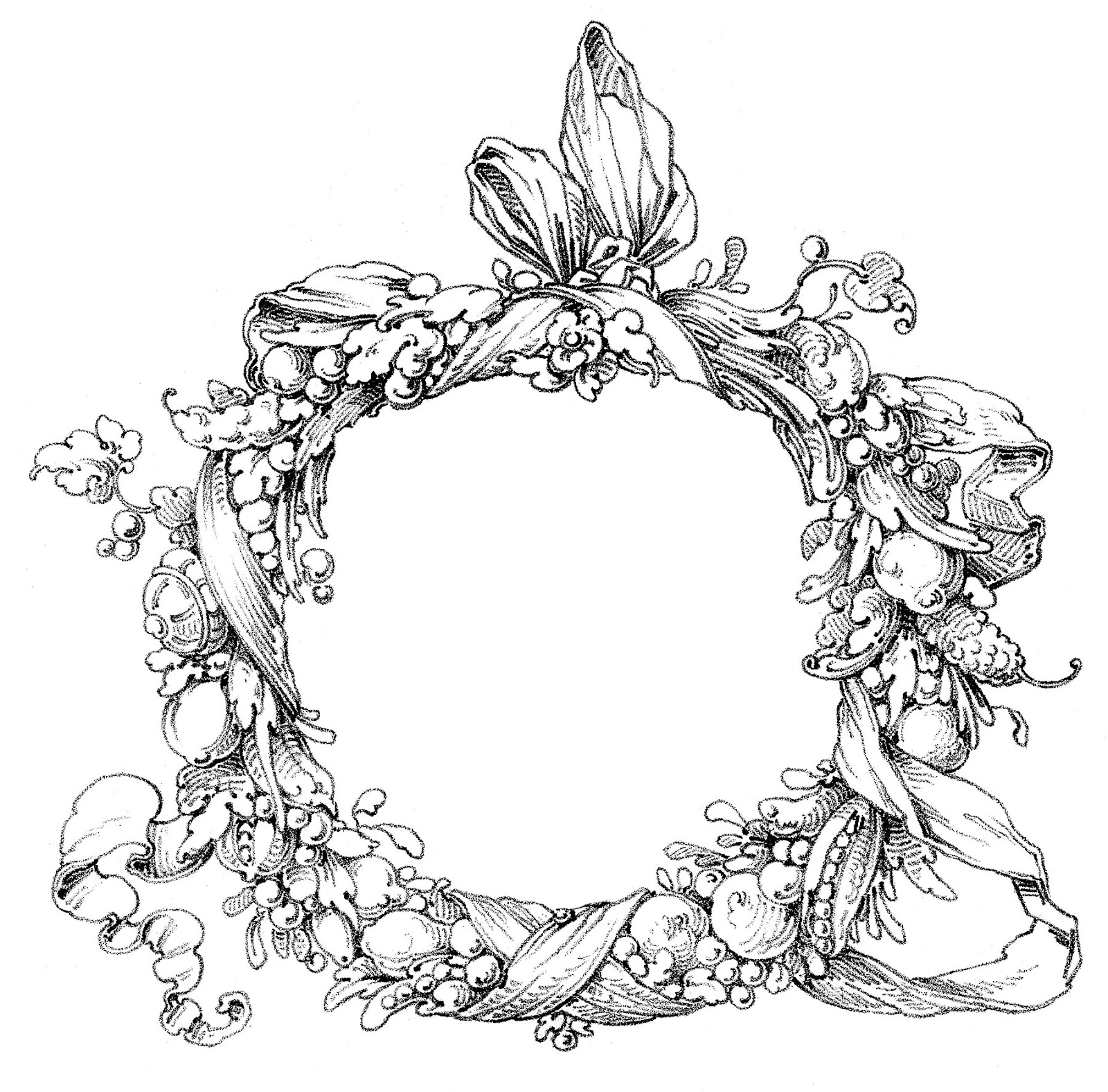 Wreath clipart old pen Vintage Graphics Clip Ornate Art