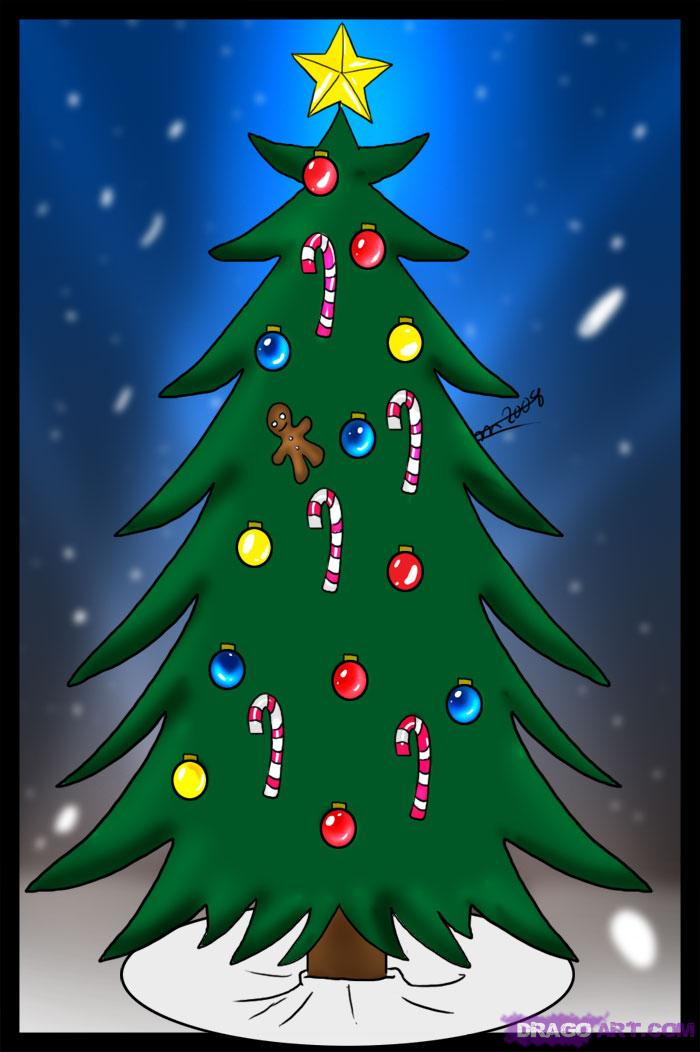 Drawn christmas ornaments simple Tree How how Draw Step