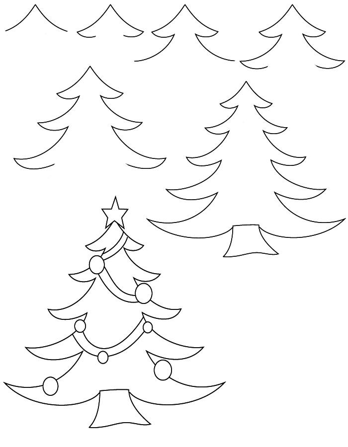Drawn christmas ornaments step by step Tree Santa realistic  drawing