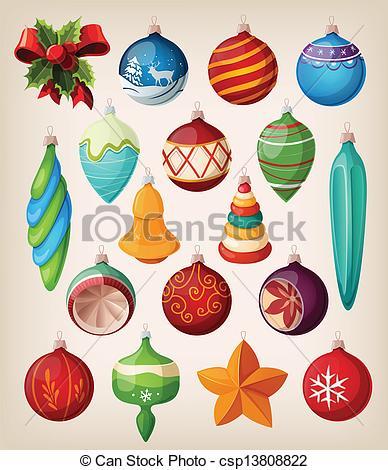 Drawn christmas ornaments vintage Illustration Colorful balls balls of