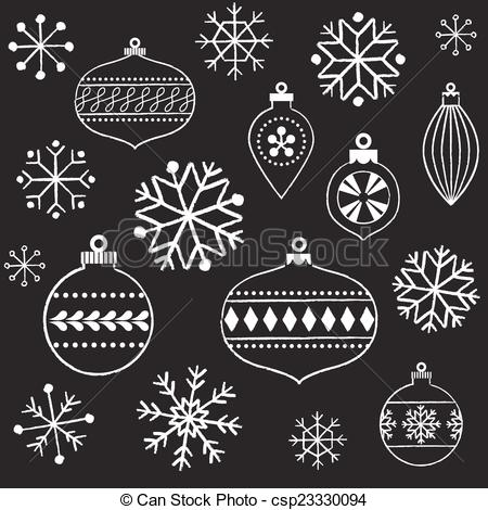Drawn christmas ornaments vintage Of  csp23330094 and and