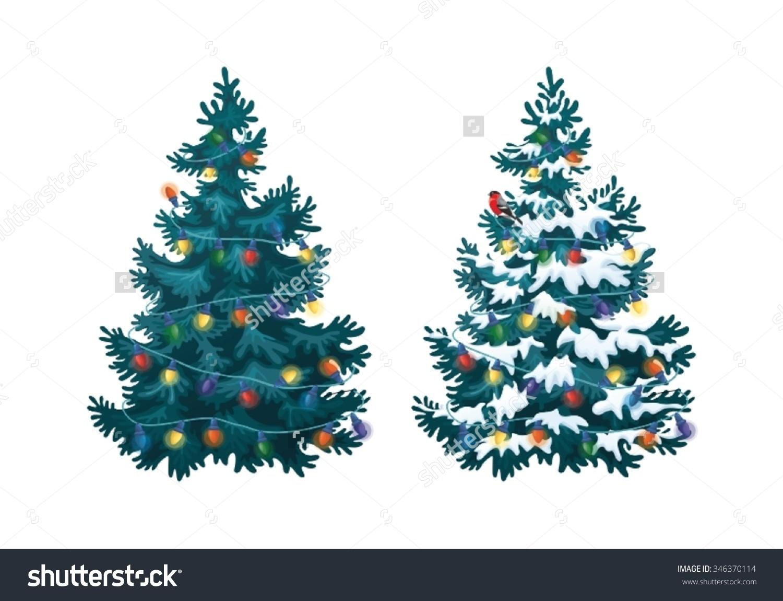 Drawn snow ice mountain Tree christmas Tree Vector vector
