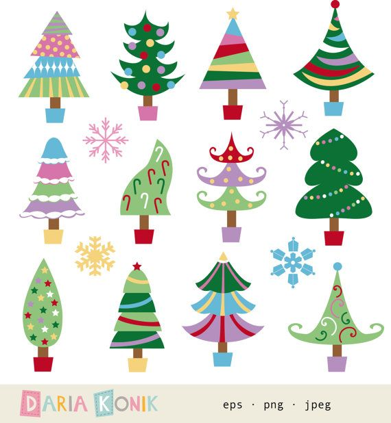 Illustration clipart novelist Trees Christmas tree Art Set