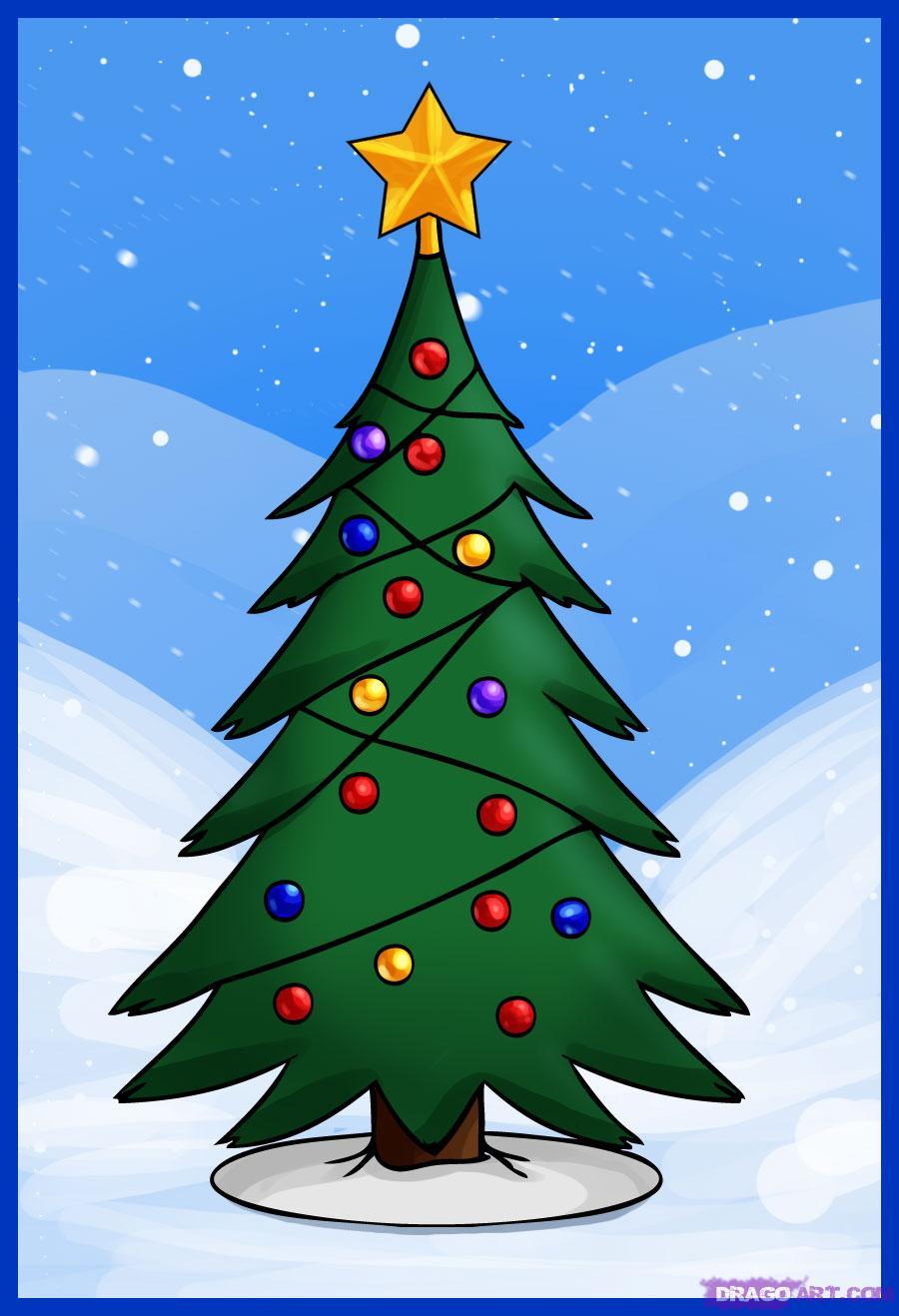 Drawn christmas tree A to tree Step Tree