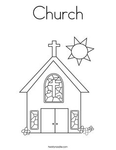Drawn church Color  coloring by pages
