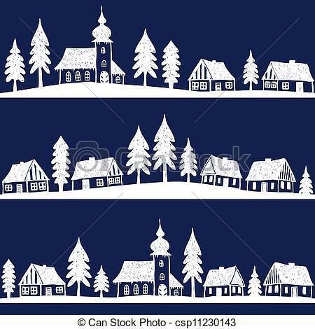 Drawn town Christmas seamless hand pattern village