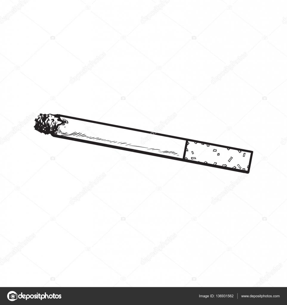 Drawn cigarette White filter cigarette sketch isolated