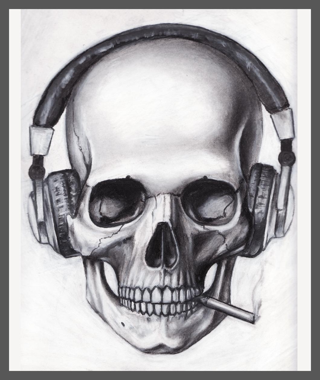Drawn headphones On Skulls Free Skull library