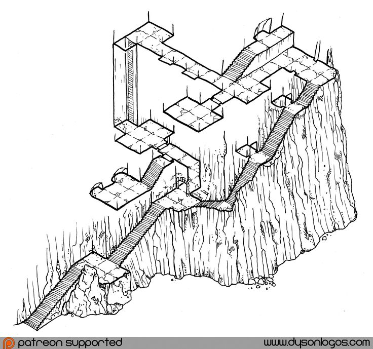 Drawn stone cliff face This D&D Isometric and on