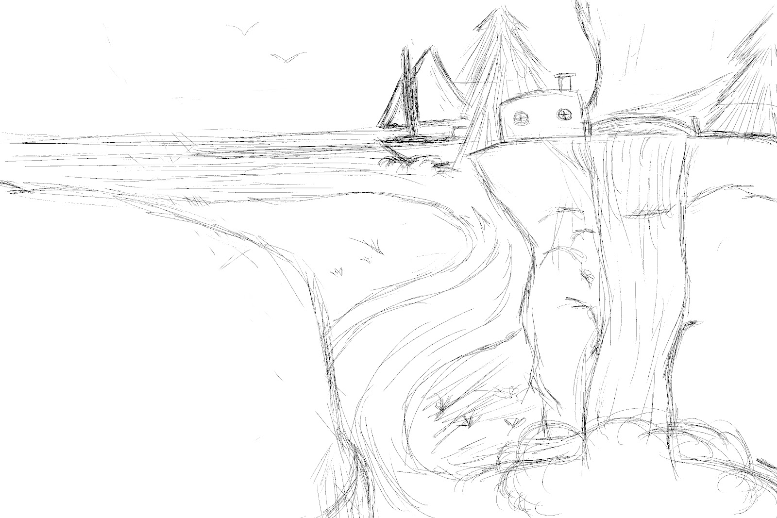 Drawn cilff landscape Landscape already of I was