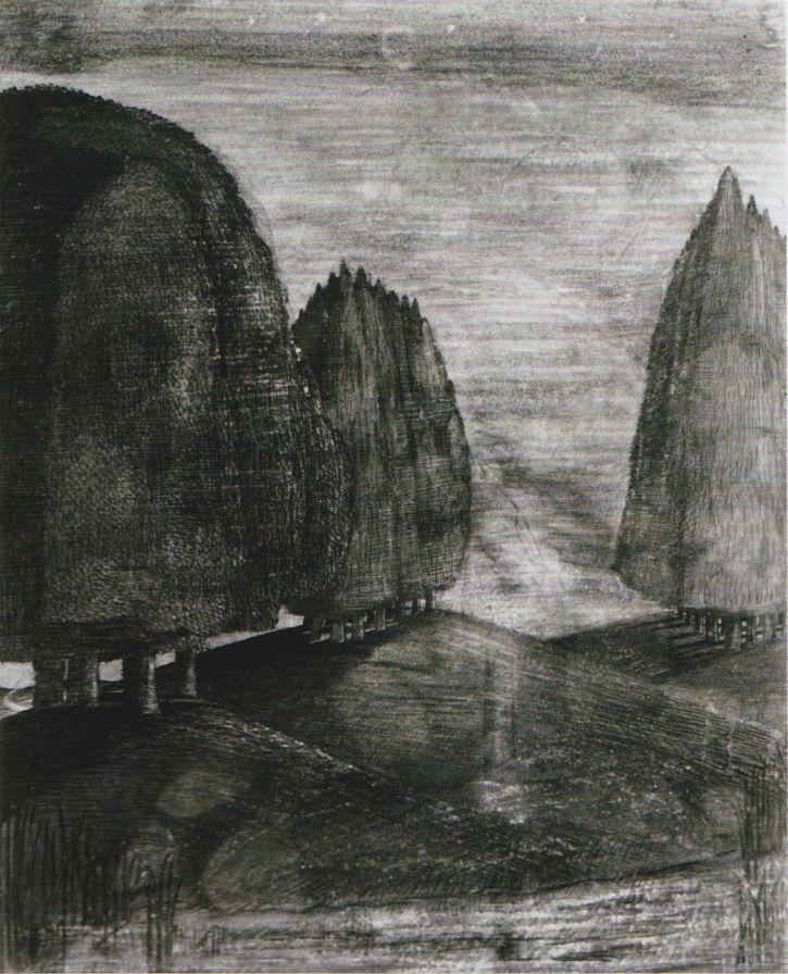 Drawn cilff landscape Of Tate different a