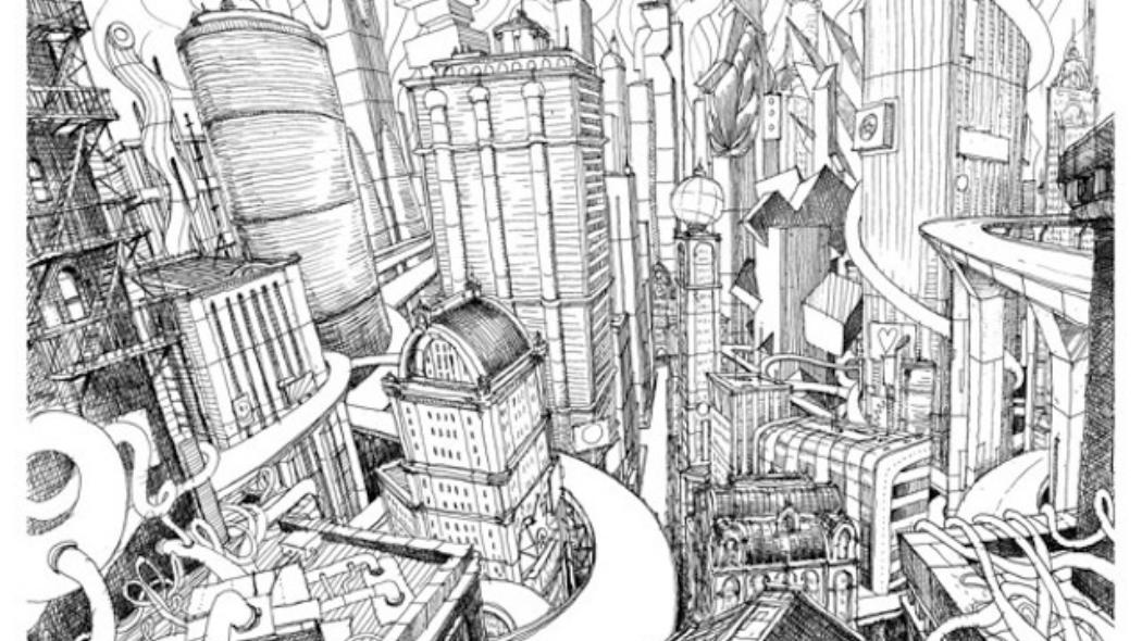 Drawn city Artwork Comes Hand In City