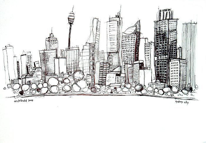 Drawn bulding  graffiti Drawing City pen drawing Australian