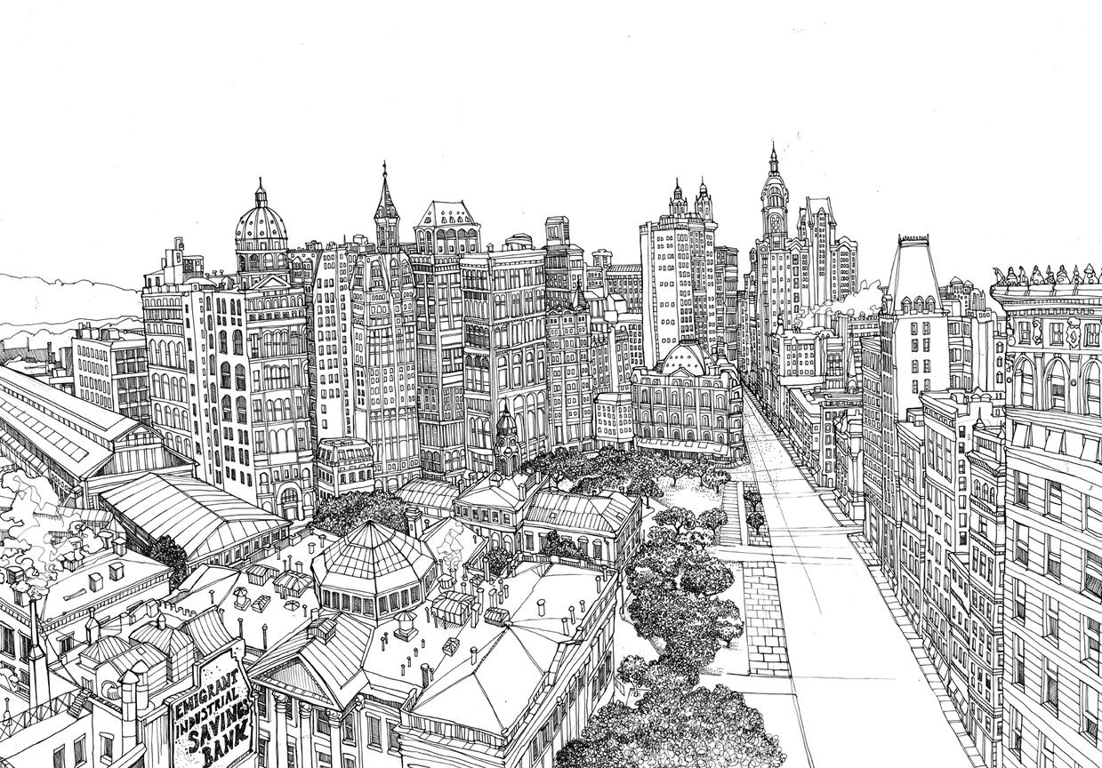 Drawn city  illustration : + :