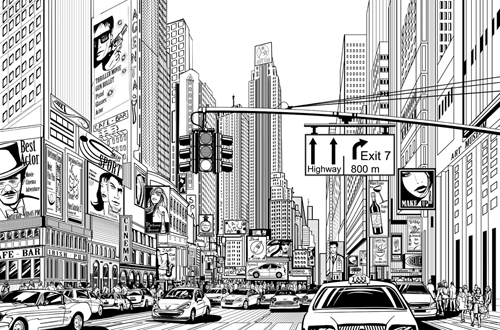 Drawn scenery city Drawing scenery Drawing Vector buildings
