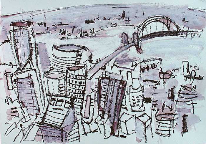 Drawn cityscape Pencil Watercolor cityscape Drawing sydney