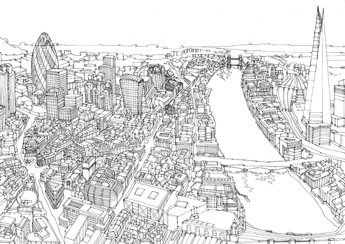 Drawn cityscape Maps Drawings of Cityscape –