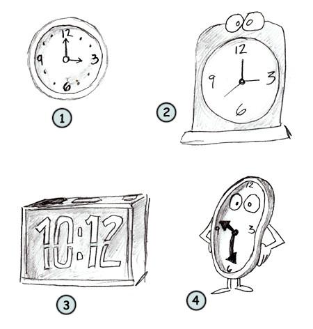 Drawn clock 4 step clock cartoon a