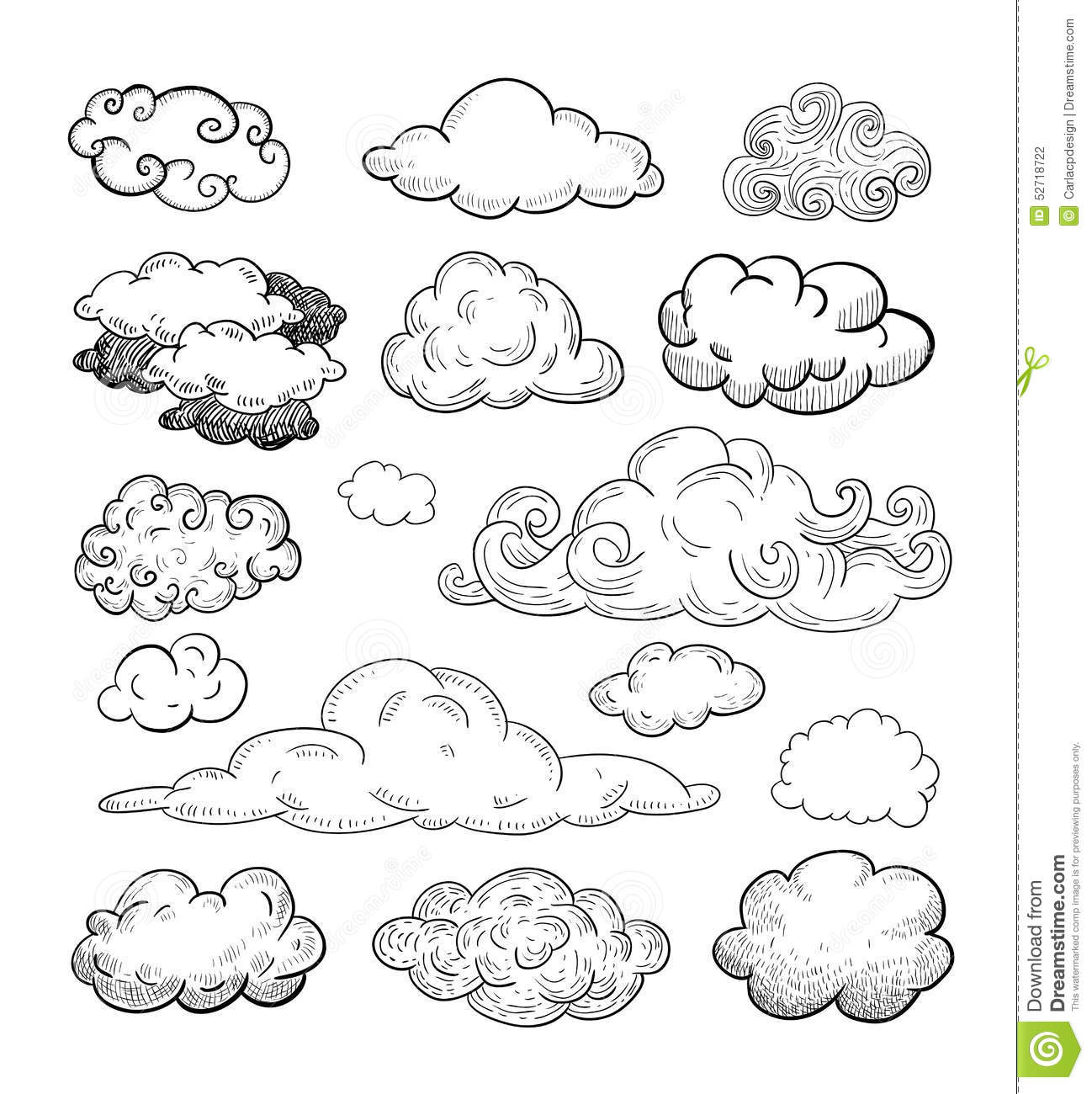 Drawn cloud Collection  Clouds Clouds Stock