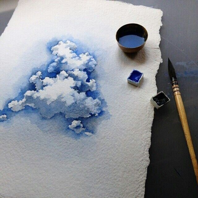 Drawn clouds pinter Art Watercolor Watercolor ideas