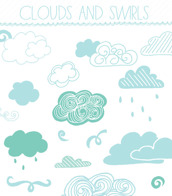 Clouds clipart drawn Hand AngieMakes AprilBlackDesigns Art 8x10