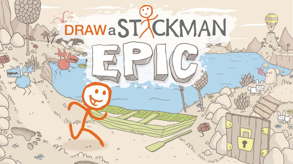 Drawn clouds epic A Stickman: Kinect Review title