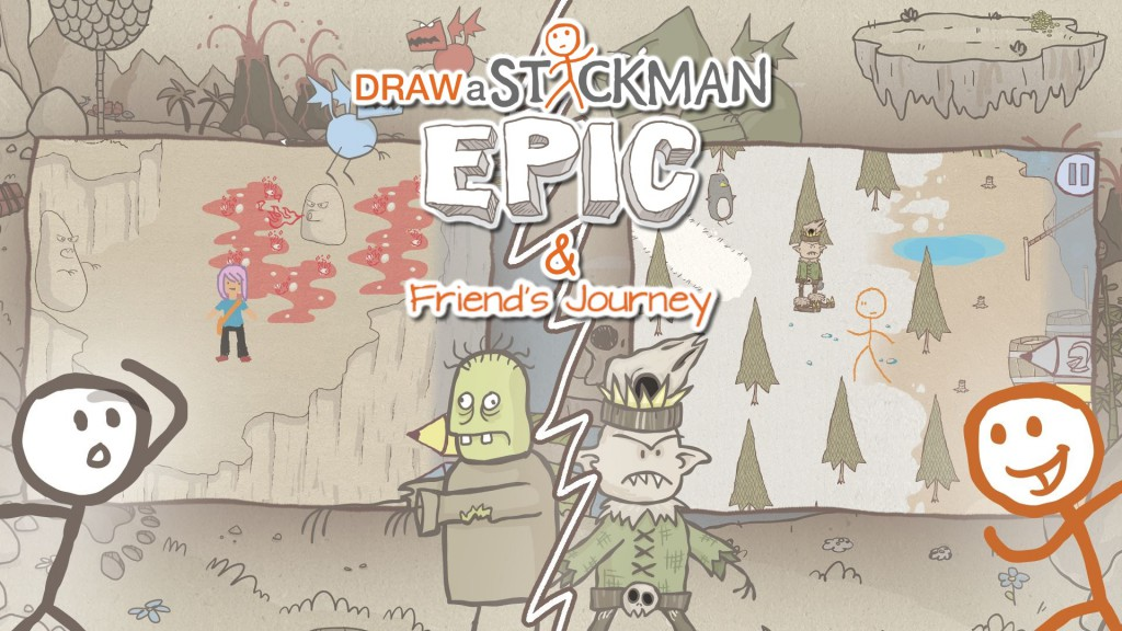 Drawn clouds epic Journey title A 123Kinect Stickman: