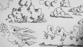 Drawn clouds ink drawing Drawing  gel Art Pen