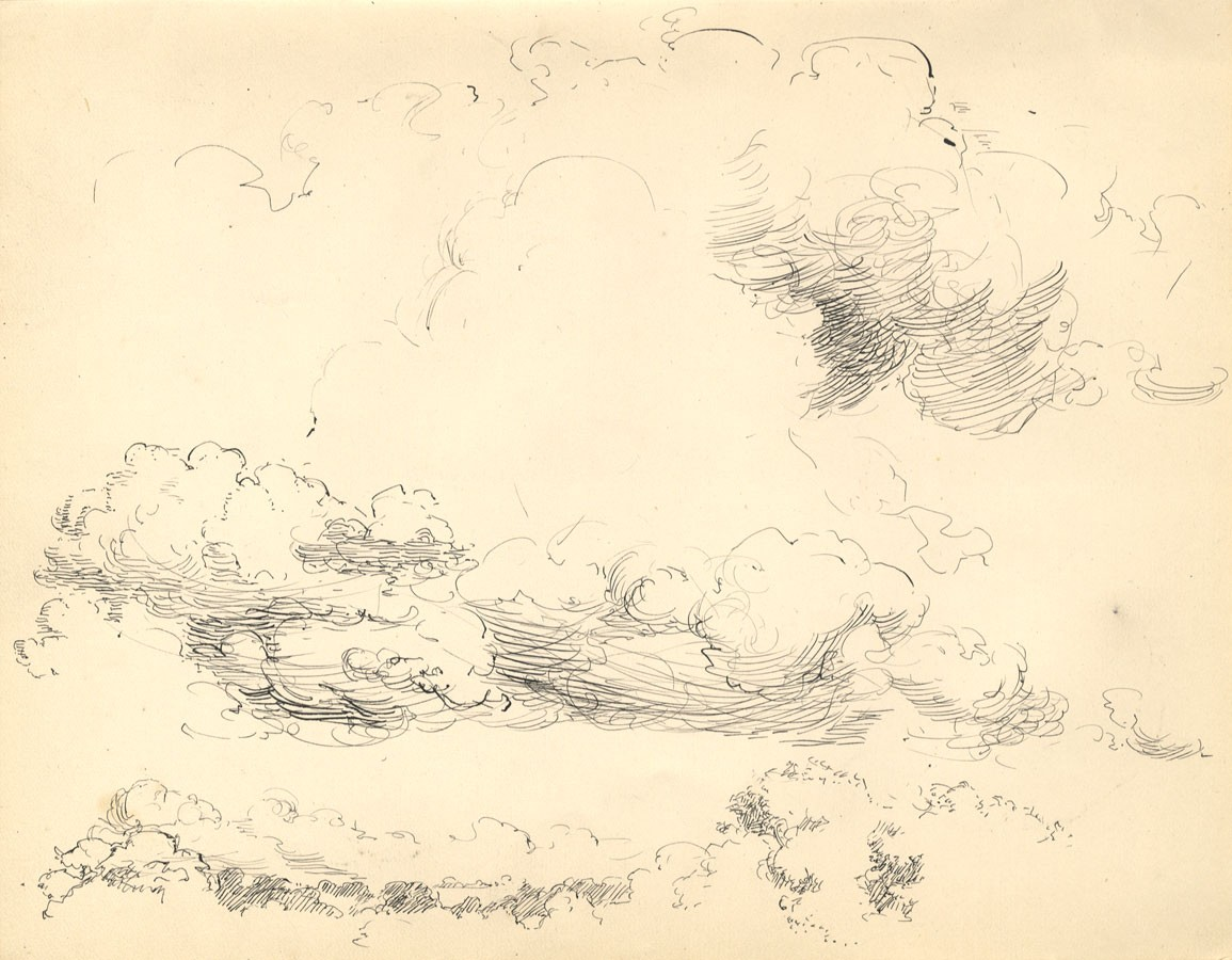 Drawn clouds pen and ink And and Ink Pen 1905