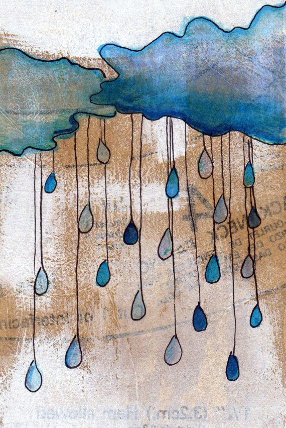 Drawn raindrops color Comes Clouds in on 5x7