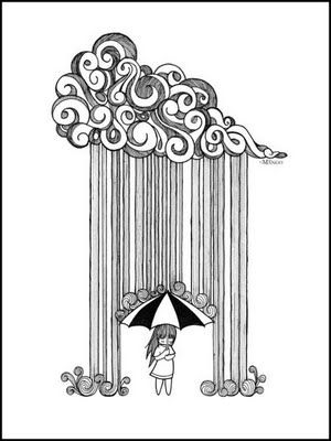 Drawn clouds rain drawing 39 Umbrella draw Pinterest I