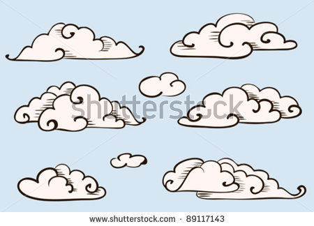 Drawn clouds pinter Stock set stock vector vector