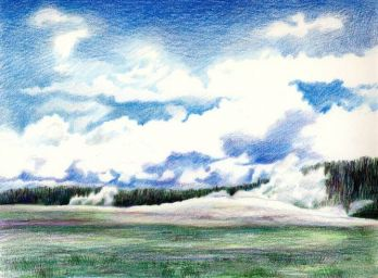 """Drawn clouds color pencil Blue"""" """"indigo a to Painting"""