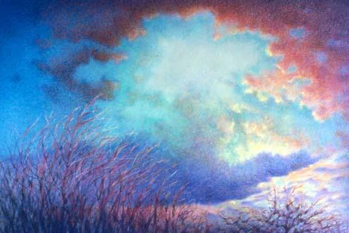 Drawn clouds color pencil Artist Roll  November •